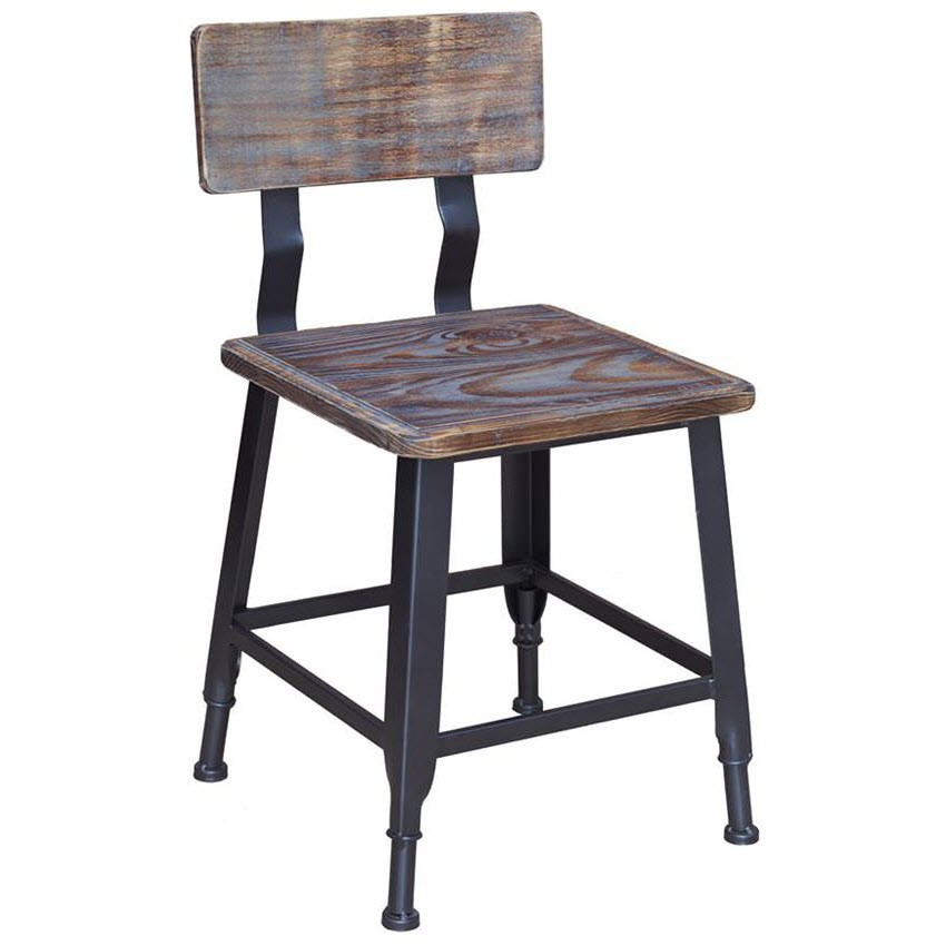 Industrial Series Metal Chair With Wood Back Amp Seat