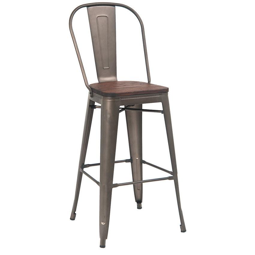 Dark grey bistro style metal bar stool with a walnut wood seat for Dark wood bar stools