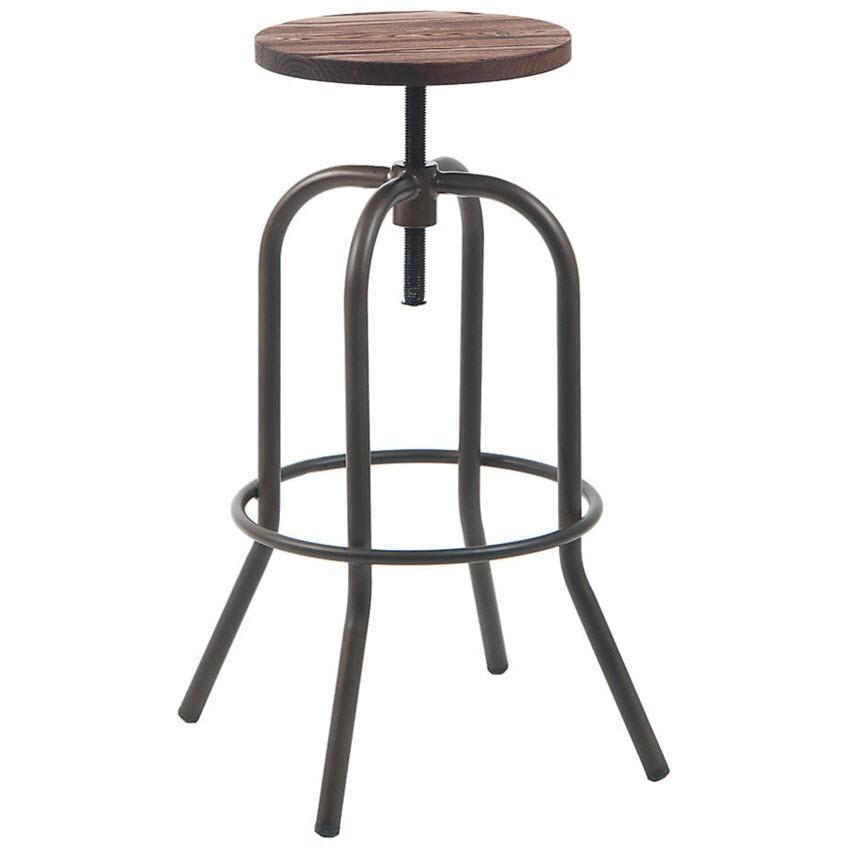 dark grey swivel backless metal bar stool with walnut wood seat. Black Bedroom Furniture Sets. Home Design Ideas