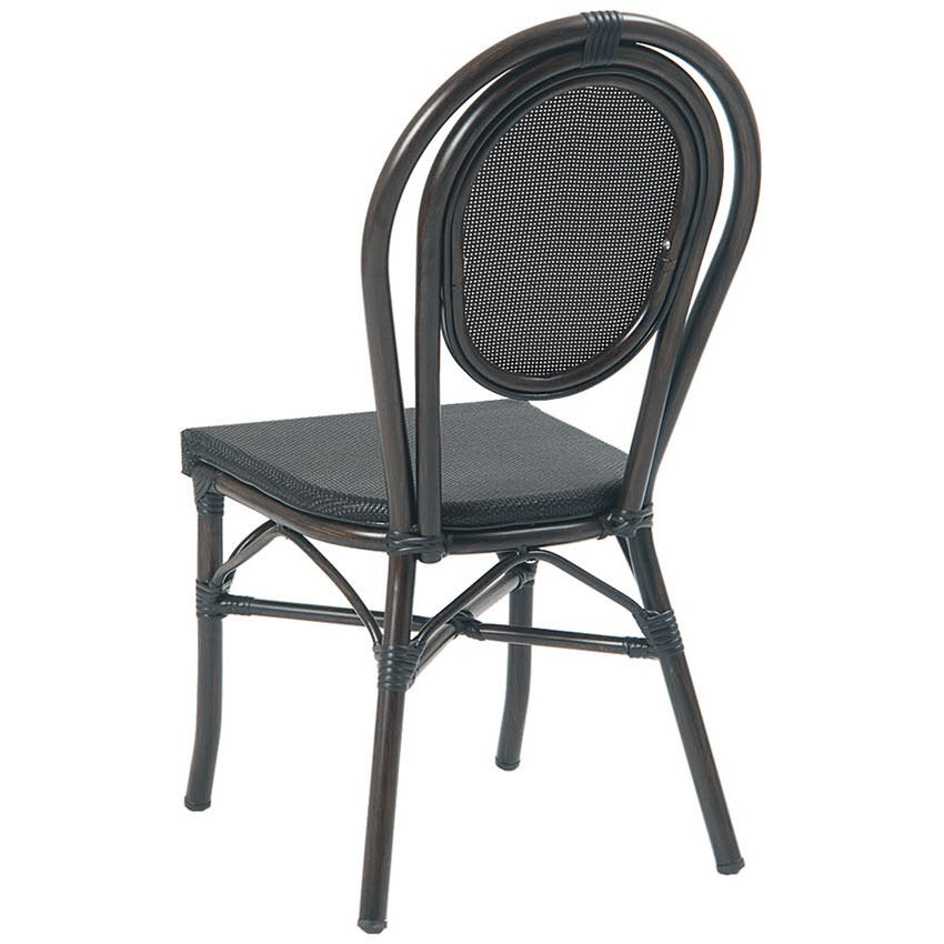 Bamboo Outdoor Chairs: Economy Aluminum Bamboo Patio Chair With Black Rattan
