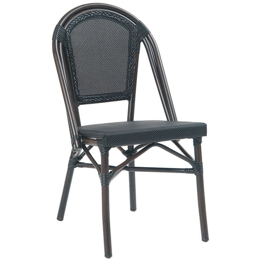 Bamboo Outdoor Chairs: Aluminum Bamboo Patio Chair With Black Rattan
