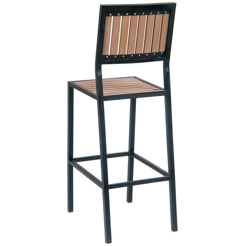 Patio Bar Stool With Natural Finish Vertical Slat Plastic Teak