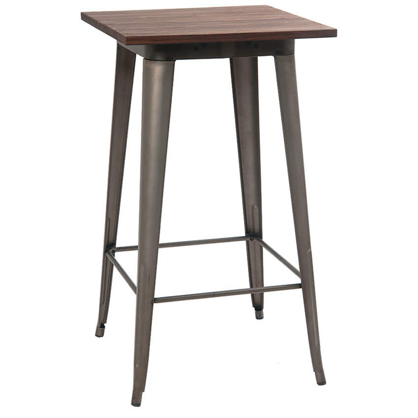 Industrial series bar height table with metal legs and for Table bar 6 personnes