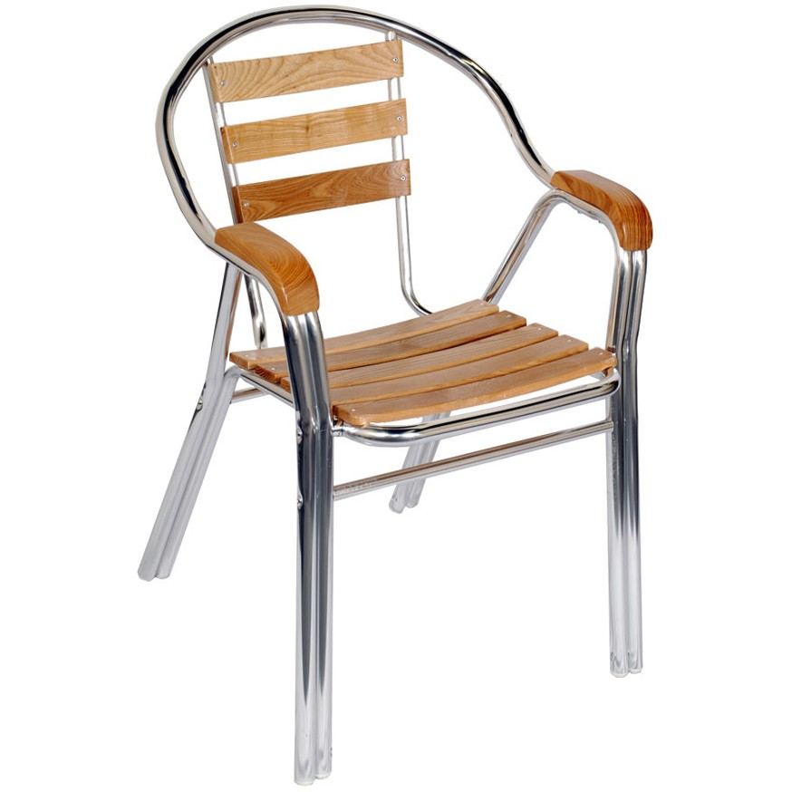 Aluminum Amp Wood Double Tube Patio Chair