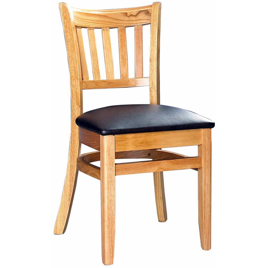 Wood restaurant furniture -  Wood Vertical Slat Restaurant Chair Natural Finish With Buckskin Vinyl Seat