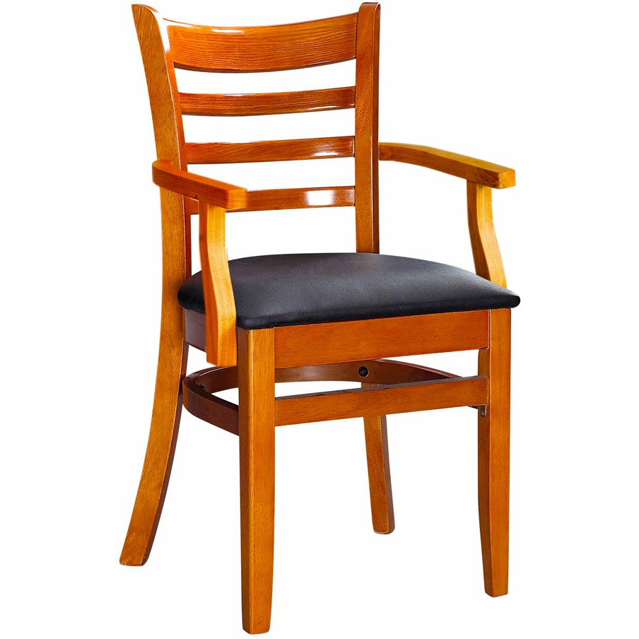 Gentil Ladder Back Wood Chair With Arms   Cherry Finish With A Black Vinyl Seat