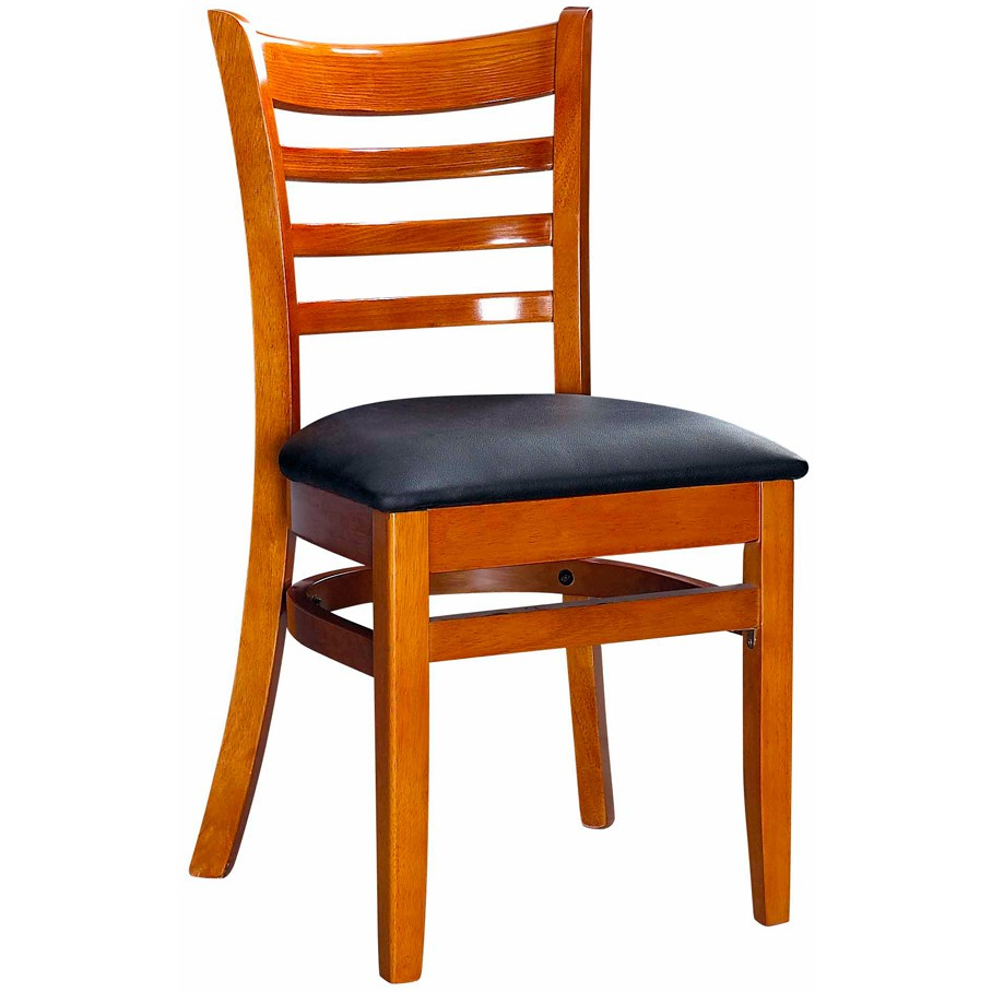 Delicieux ... Wood Ladder Back Chair   Cherry Finish With Black Vinyl Seat ...