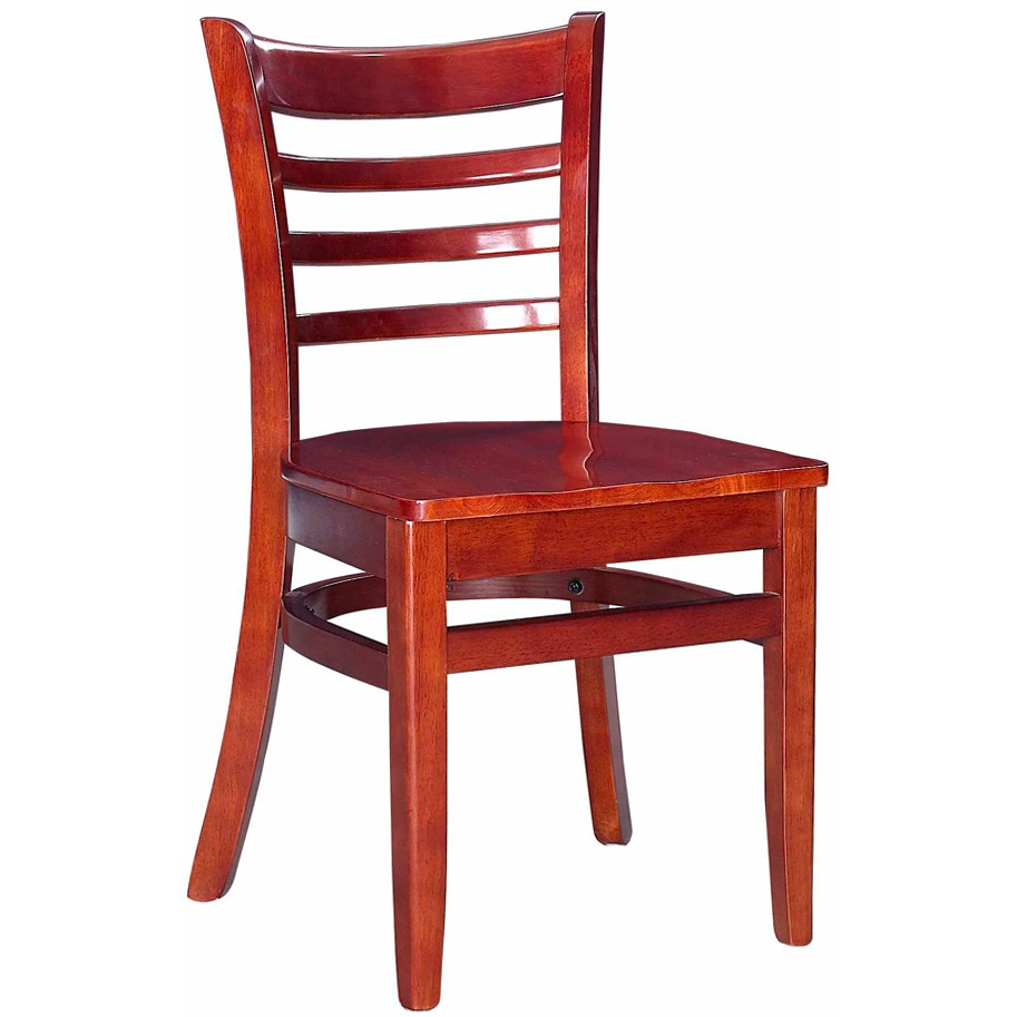 Wood restaurant furniture -  Wood Ladder Back Chair Mahogany Finish With Wood Seat