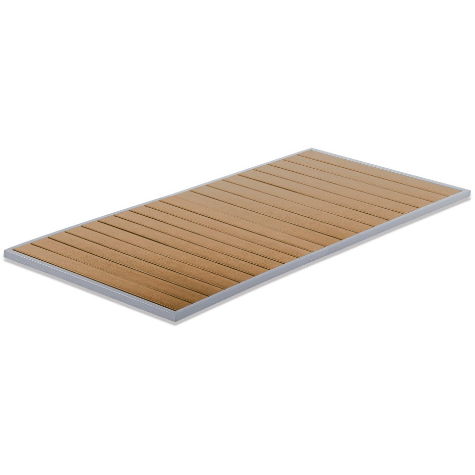 Exceptionnel ... Aluminum Patio Table Top With Plastic Teak Slats   Rectangle