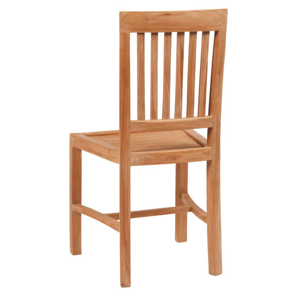 Vertical Slat Natural Teak Wood Patio Chair