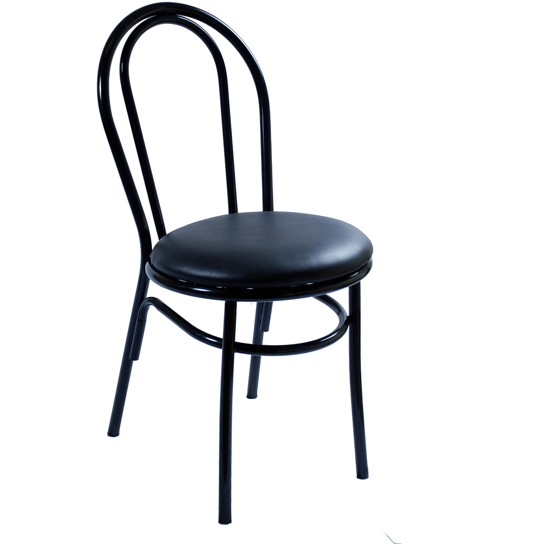 Genial Arc Metal Restaurant Chair   Black Finish With A Red Vinyl Seat