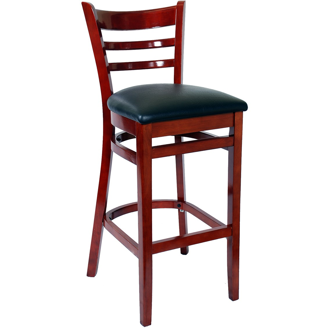 Ladder Back Bar Stool Mahogany Finish With A Black Vinyl Seat