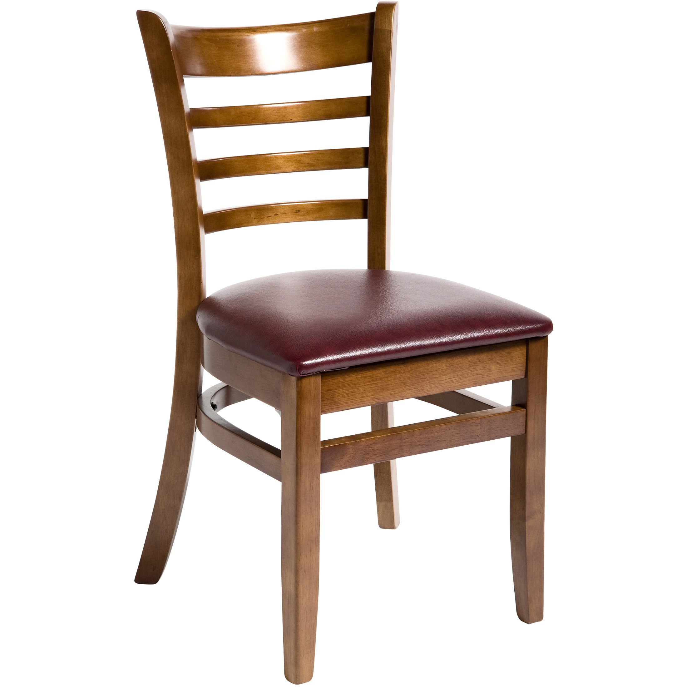 Wood restaurant furniture - Wood Ladder Back Chair Walnut Finish With Wine Vinyl Seat