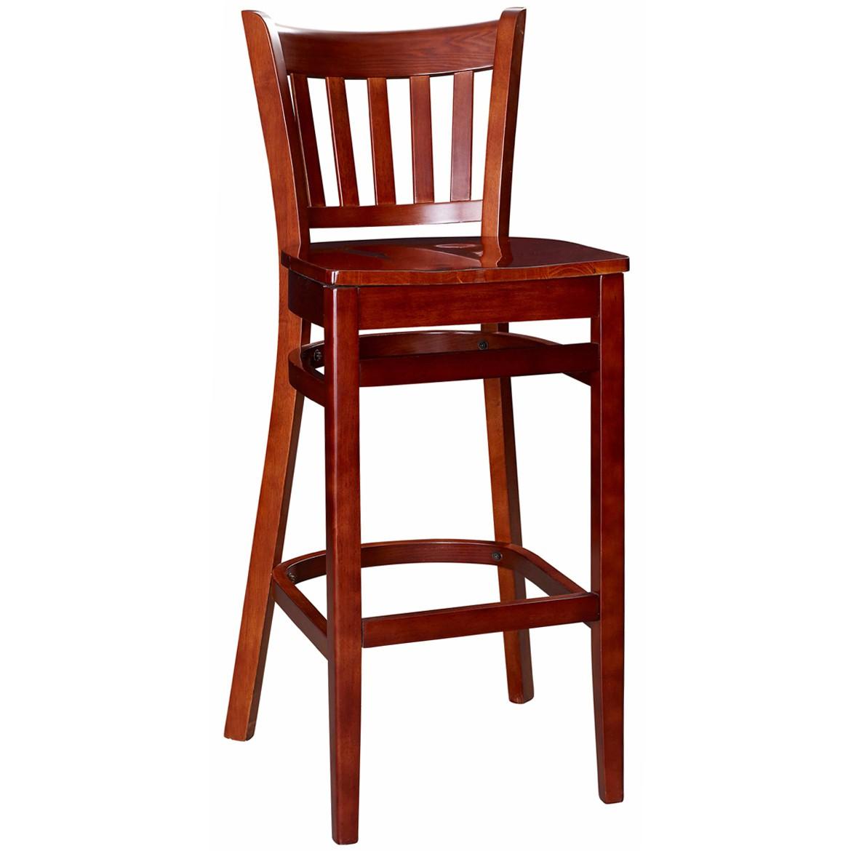 Vertical Slat Wood Bar Stool Mahogany Finish with a Wood Seat