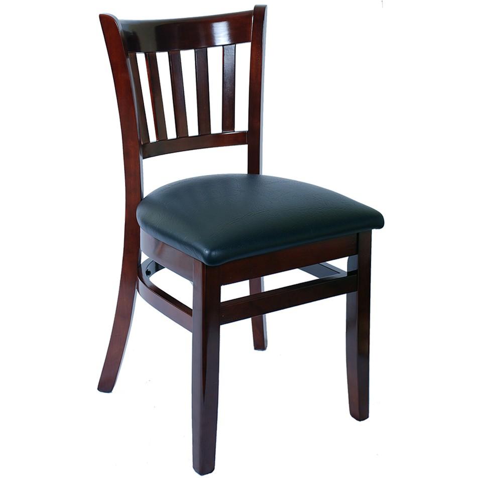 Wood Vertical Slat Restaurant Chair   Dark Mahogany Finish With Black Vinyl  Seat