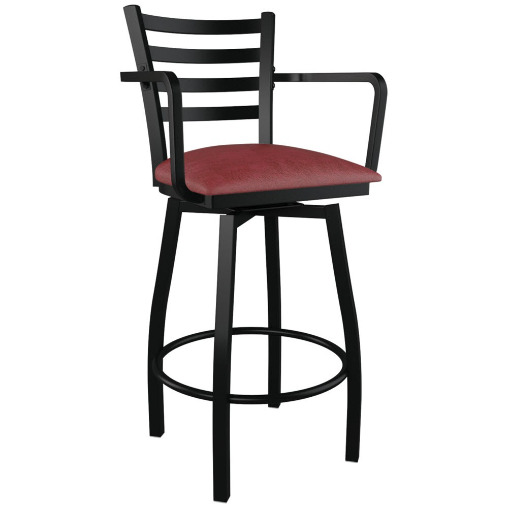 swivel ladder back metal bar stool with arms - Metal Bar Stools With Backs