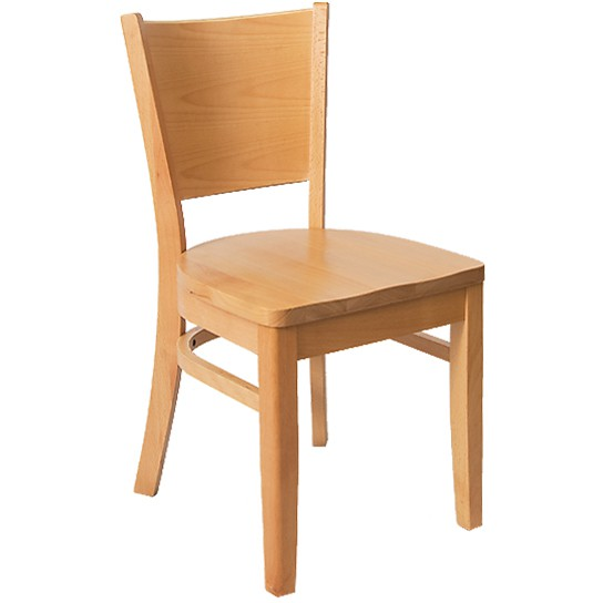 Beechwood Curved Plain Back Chair   Natural Finish With A Wood Seat