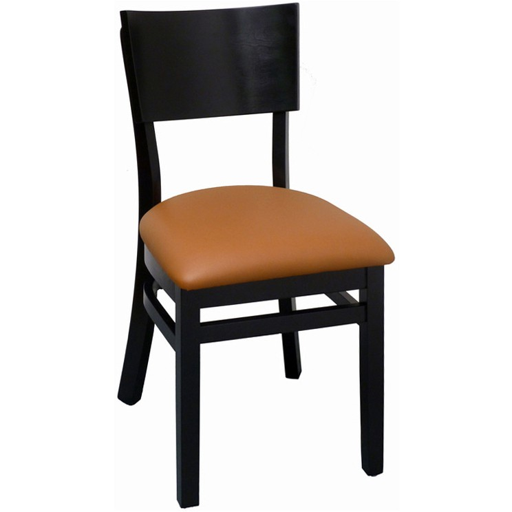 Curved Back Wood Chair   Black Finish With A Tan Vinyl Seat