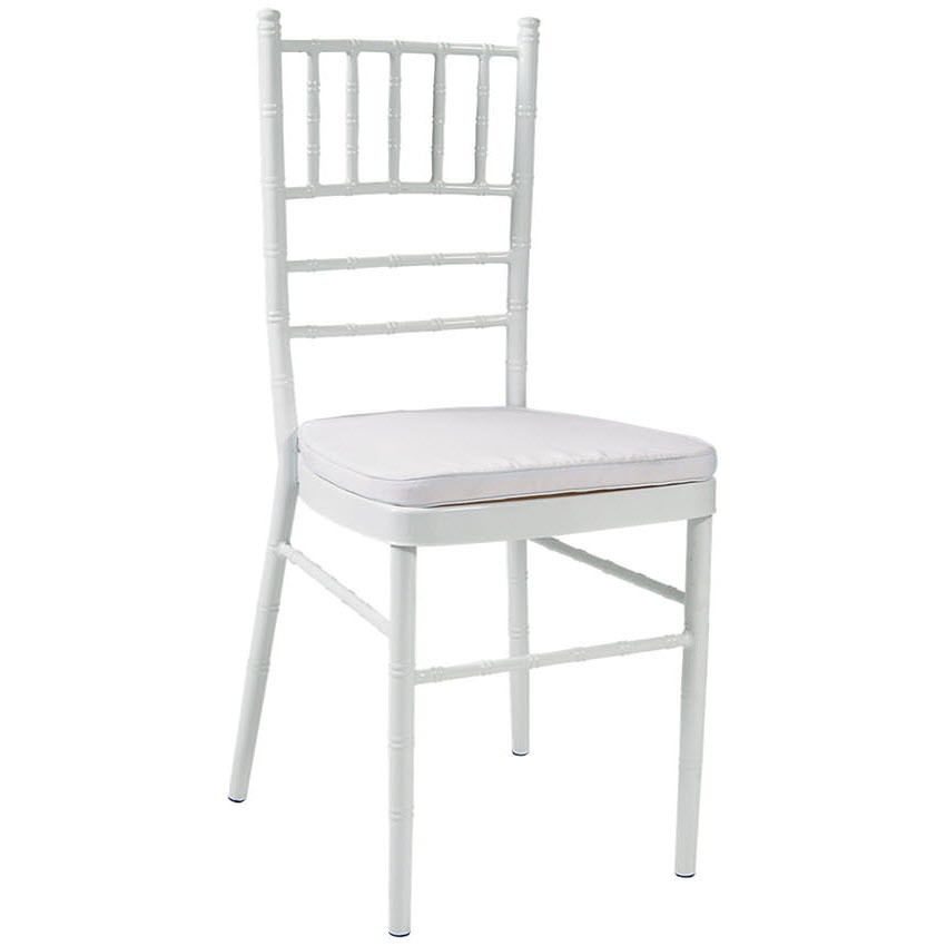 Economy White Metal Chiavari Chair With White Cushion