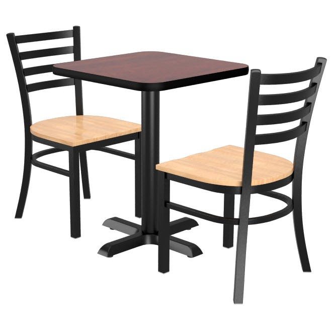 Set Of 2 Ladder Back Wood Bar Stools With Square Reversible Table