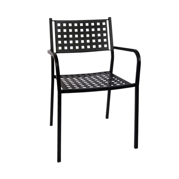 Amazing Black Metal Patio Stack Chair With Armrest Download Free Architecture Designs Grimeyleaguecom