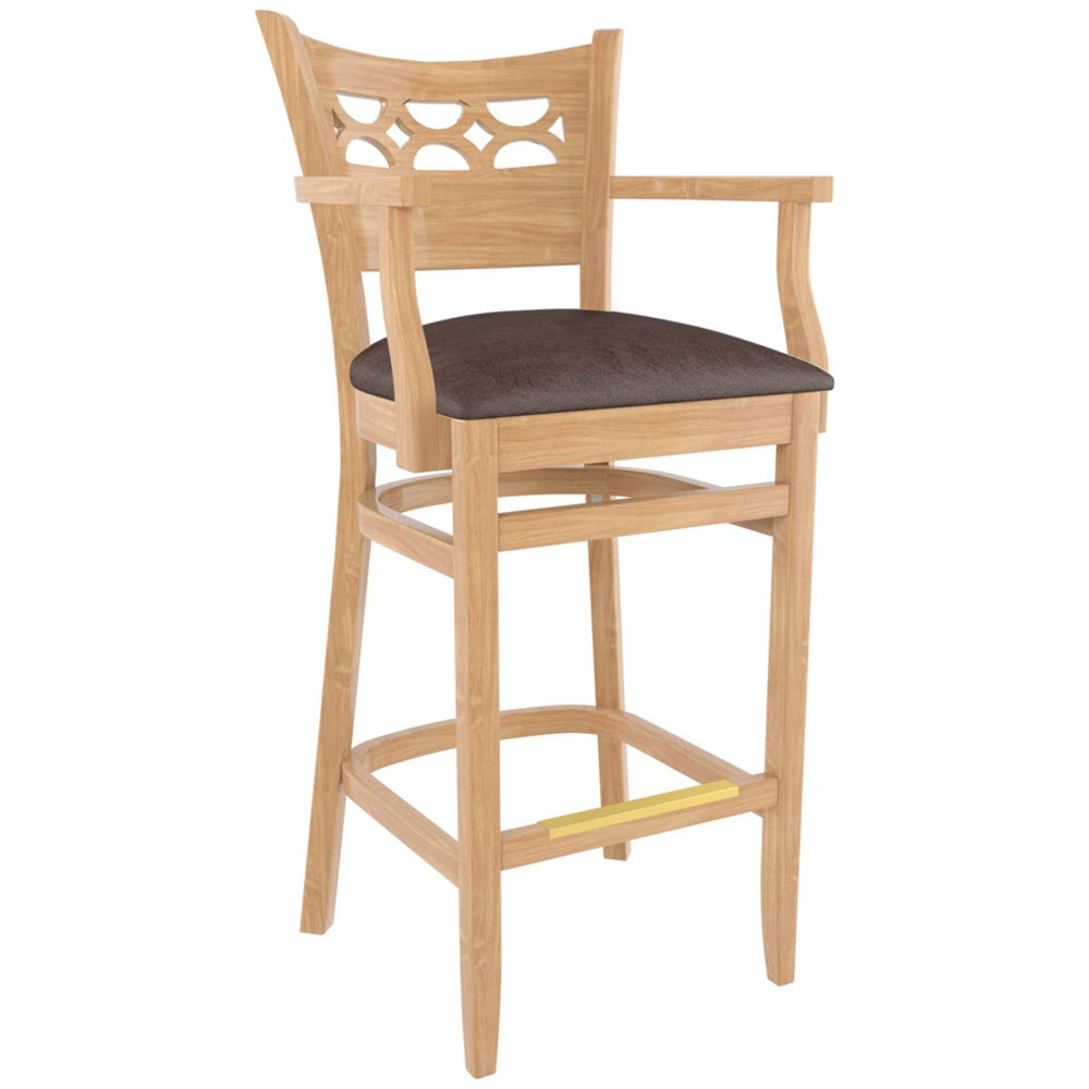 US Made Leonardo Wood Bar Stool With Arms