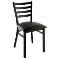 Metal Ladder Back Chair - Black Finish with a Black Vinyl Seat  sc 1 st  Restaurant Furniture & Metal Restaurant Chairs: Shop Commercial Chairs from only $27.99