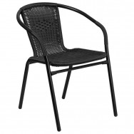 Black Indoor Outdoor Rattan Restaurant Chair