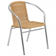 Economy Aluminum & Natural Rattan Patio Chair