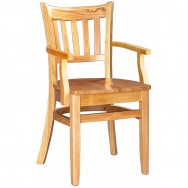 Vertical Slat Wood Restaurant Chair With Arms   Natural Finish With A Wood  Seat