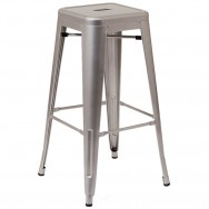 Bistro Style Metal Backless Bar Stool in Light Grey Finish