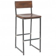 Industrial Series Metal Bar Stool with Wood Back & Seat