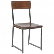 Attractive Industrial Series Metal Chair With Wood Back And Seat