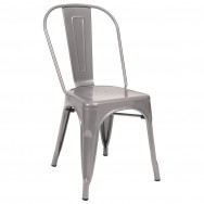 Bistro Style Metal Chair in Light Grey Finish
