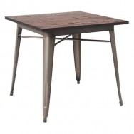 Industrial Series Restaurant Table with Metal Legs and Wood Top