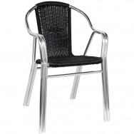 Black Rattan Aluminum Chair