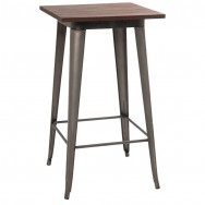 Industrial Series Bar Height Restaurant Wood Table Top with Metal Legs