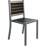 Plastic-Teak Metal Patio Chair